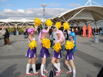 Lucky Star cosplay cheerleader group