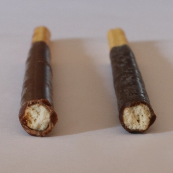 Mikado (left) and Pocky (right) side by side